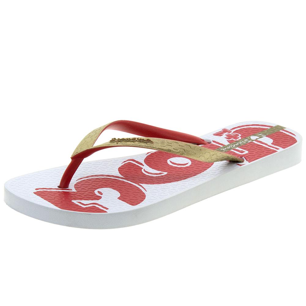 Chinelo Feminino Desejos Branco / Vermelho Ipanema - 25914