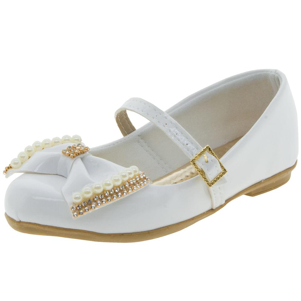 Sapato Infantil Feminino Branco Sonho de Menina | Clovis - 0282