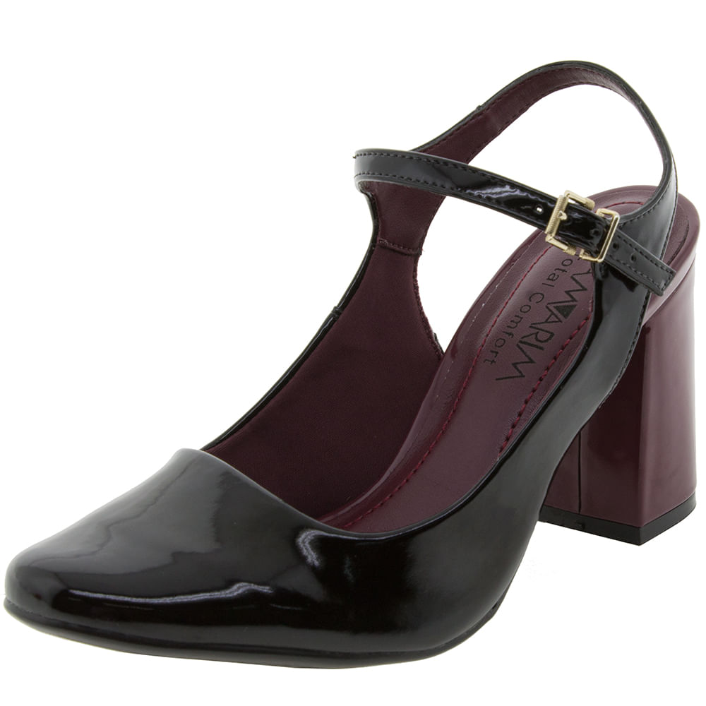 Sapato Feminino Salto Alto Preto / Malbec Ramarim