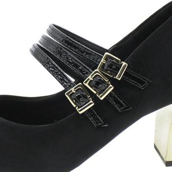 b9ea02c75 Sapato Feminino Salto Médio Preto Usaflex |Clovis - U6212 ...