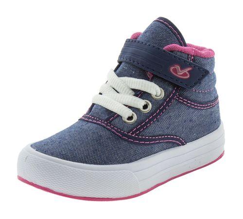 96d11cd2c Tênis Infantil Feminino Azul Pink Via Vip - 2627. Previous. 01  01 ...