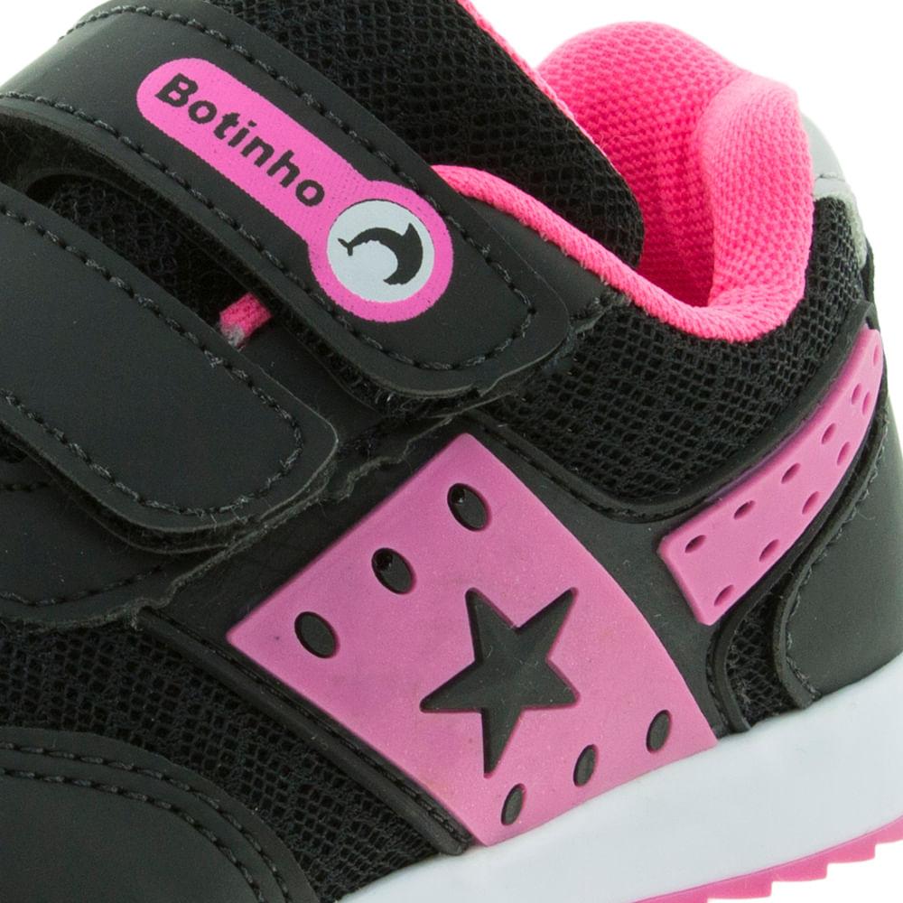 bd4637130c4 Tênis Infantil Feminino Preto Pink Botinho - 783 - cloviscalcados