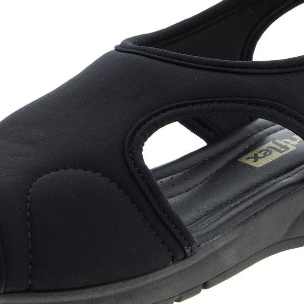 7c490a14b Sandália Feminina Salto Baixo Preta ComfortFlex - 1751405 - cloviscalcados