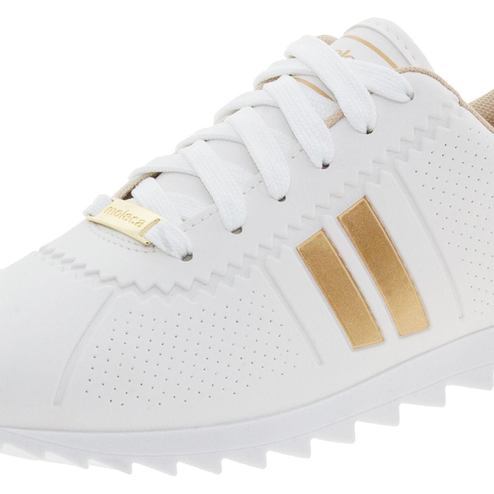b9777a98f Tênis Feminino Casual Branco Dourado Moleca - 5632100 - cloviscalcados
