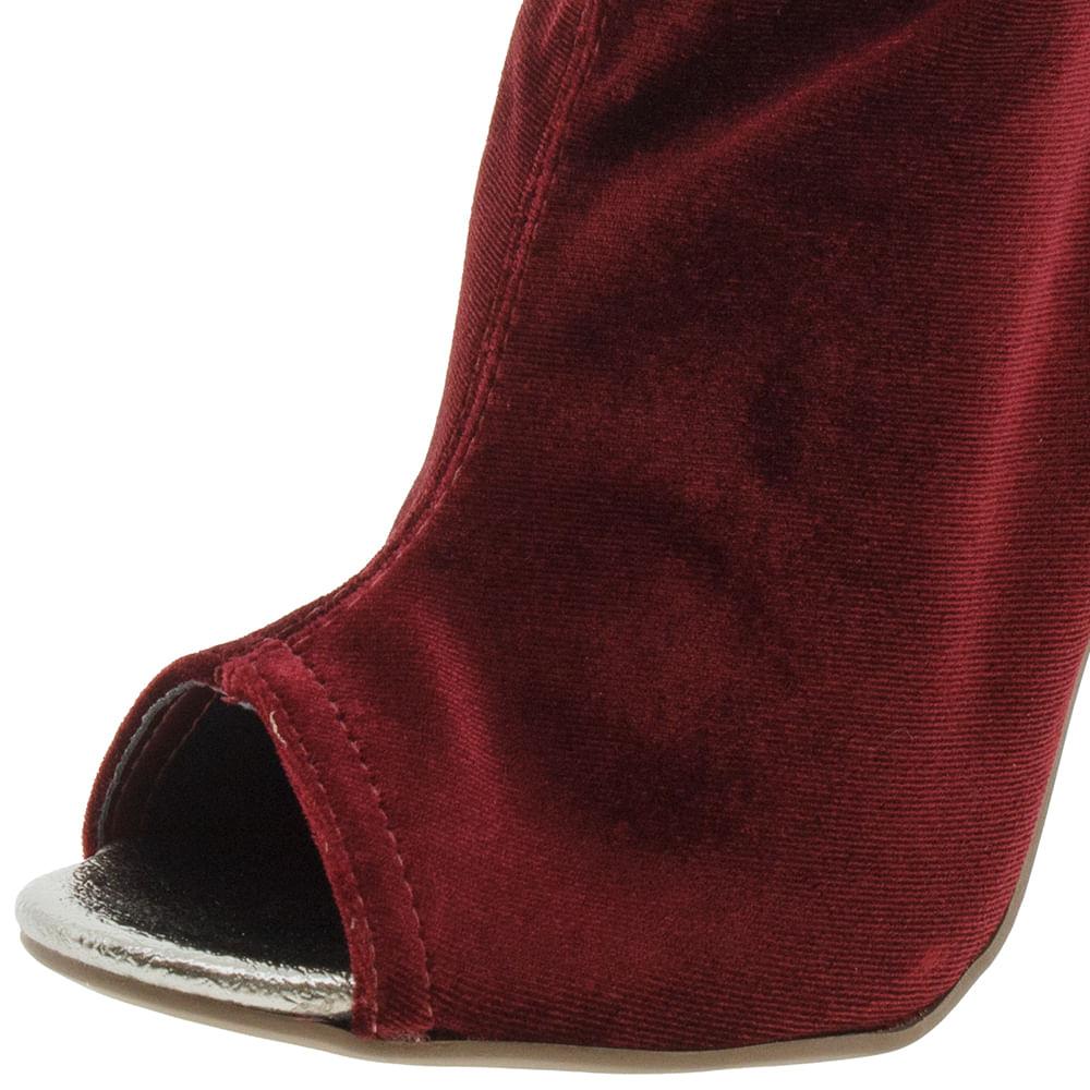 90b2d991a Bota Feminina Ankle Boot Vinho Via Marte - 173401 - cloviscalcados