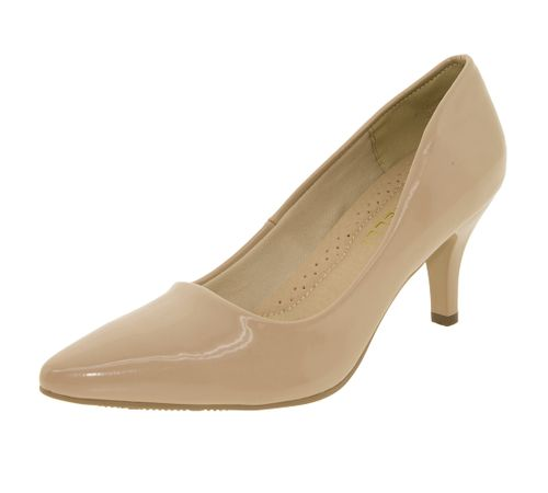 2a89254c6 Sapato Feminino Scarpin Salto Médio Areia Facinelli - 62502 ...
