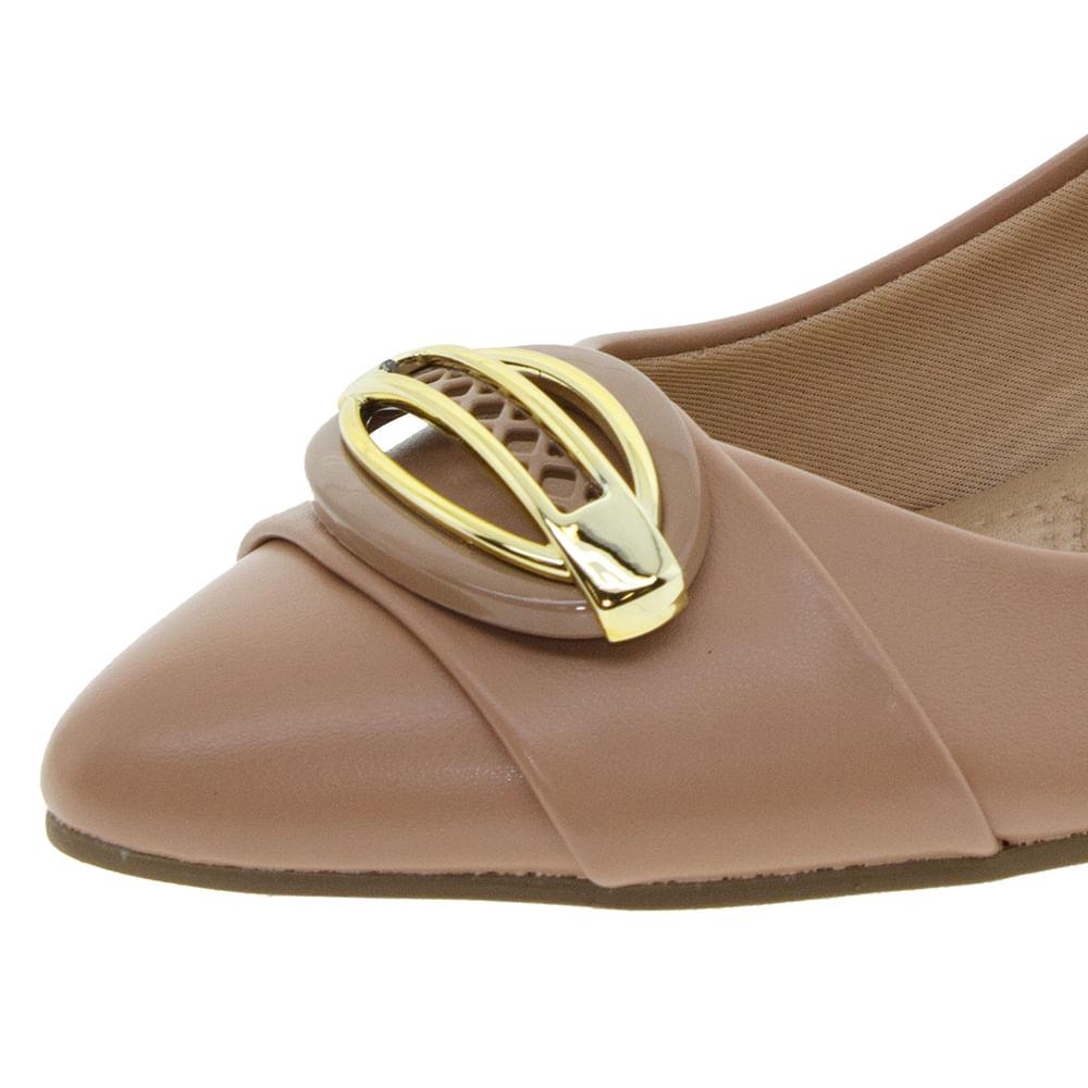 1f2d529f1 Sapato Feminino Salto Baixo Nude Pietra Fernandes - 360006 - cloviscalcados