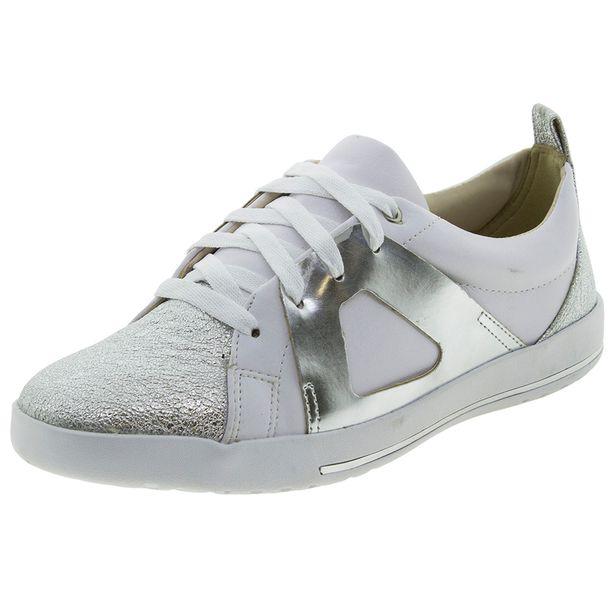 dde846b3298 Tênis Feminino Branco Prata ComfortFlex - 1759304 - cloviscalcados