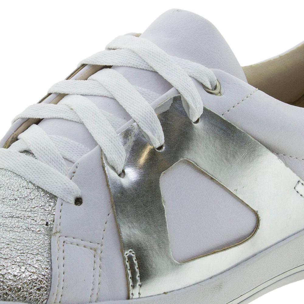 587c9b830f Tênis Feminino Branco Prata ComfortFlex - 1759304 - cloviscalcados