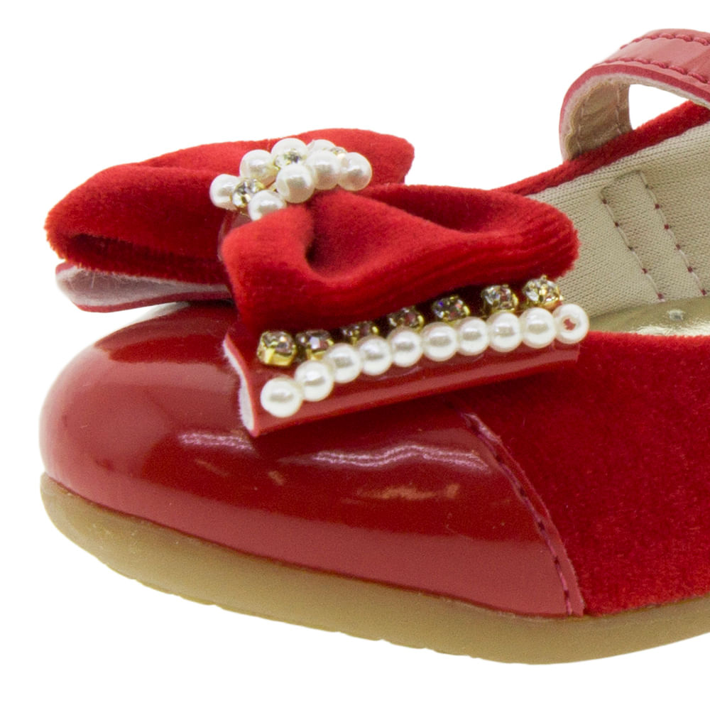 ed2ae37733 Sapatilha Infantil Feminina Vermelha Lily Kids - 18084 - cloviscalcados