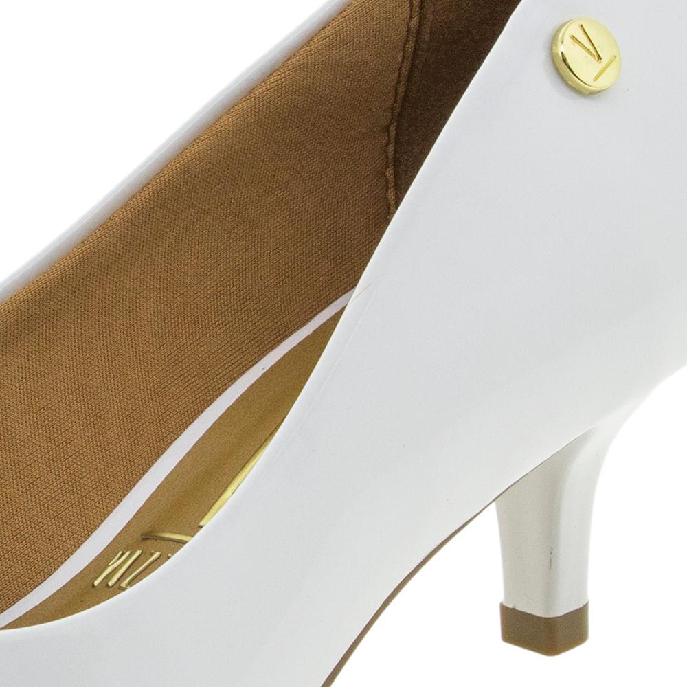 d0f9b0cc0d Sapato Feminino Scarpin Salto Baixo Branco Vizzano - 1122628 -  cloviscalcados