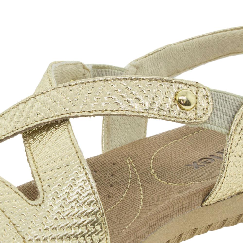 cc9d9d114 Sandália Feminina Salto Baixo Ouro Usaflex - R1804 - cloviscalcados