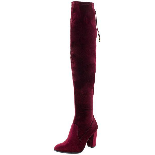 d089a96e9 Bota Feminina Over Knee Vinho Via Marte - 176006 - cloviscalcados