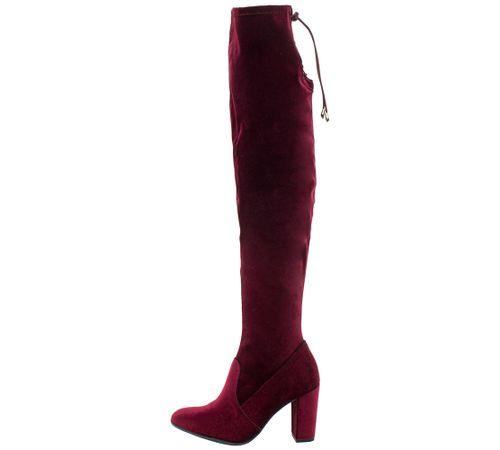e3e094b11 Bota Feminina Over Knee Vinho Via Marte - 176006 - cloviscalcados