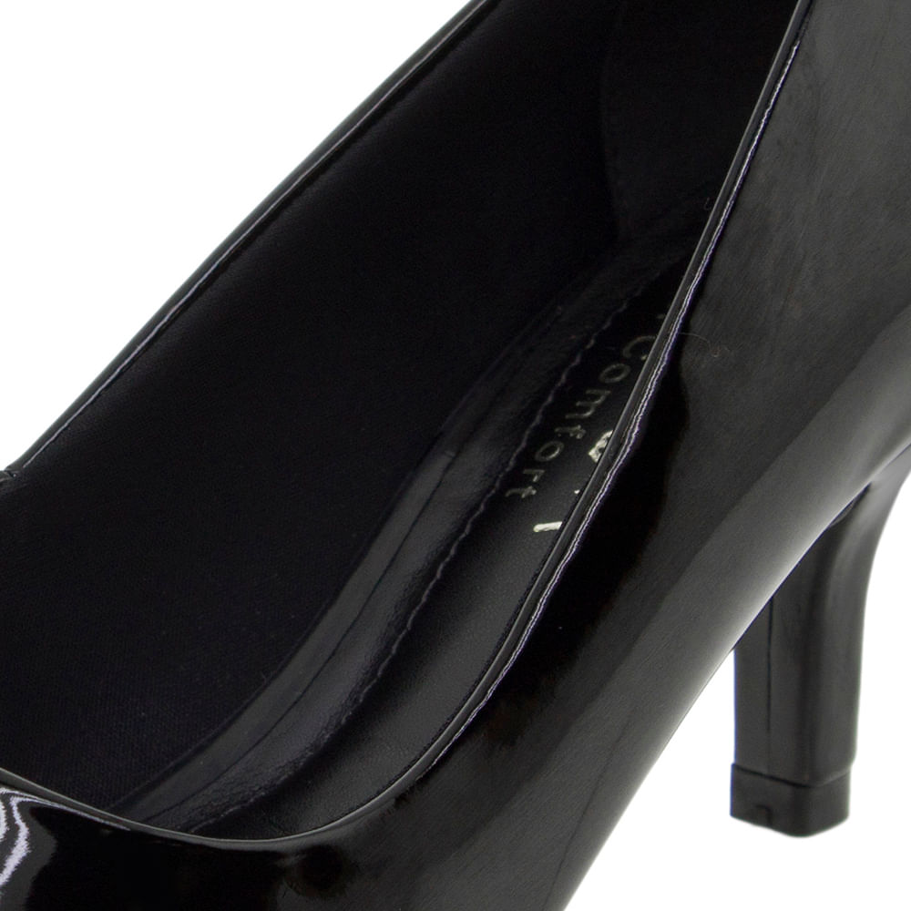 a0a0ea3123 Sapato Feminino Scarpin Salto Baixo Verniz/Preto Ramarim - 1726221 -  cloviscalcados