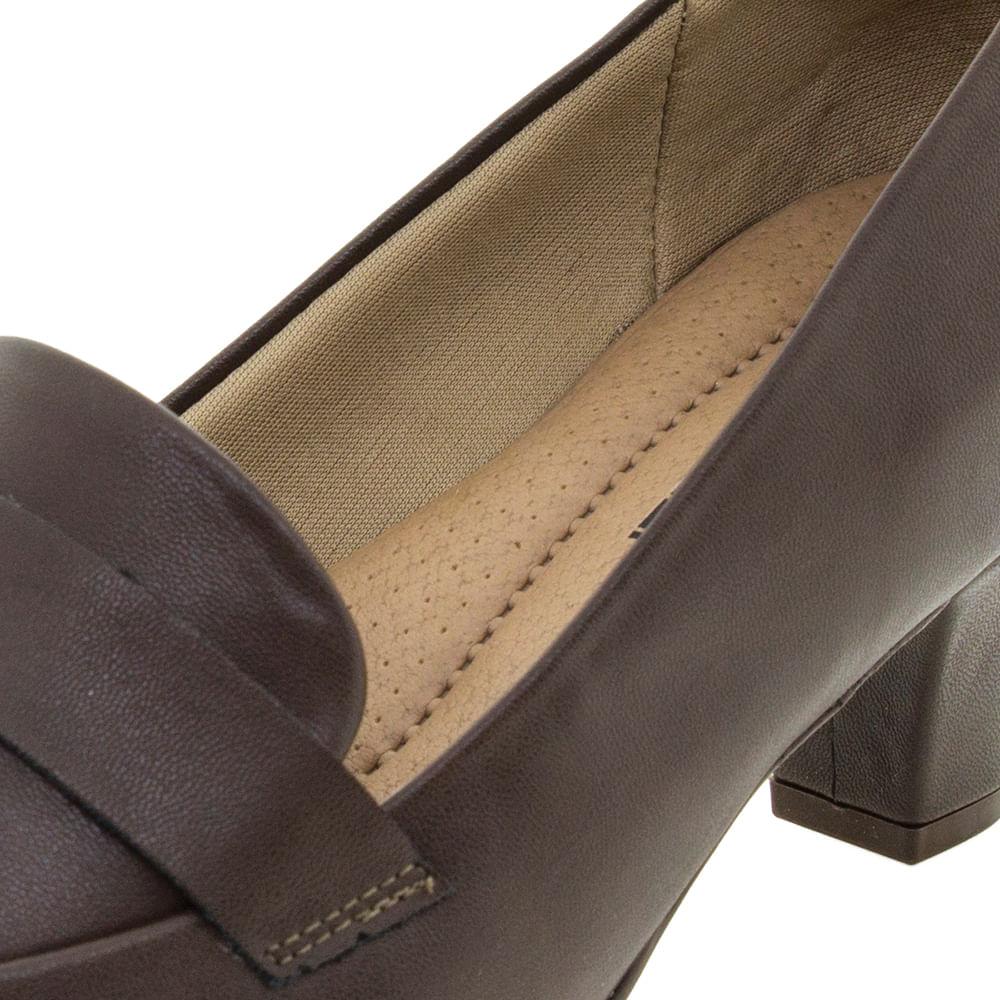 6383ca122 Sapato Feminino Salto Baixo Café Piccadilly - 703015 - cloviscalcados