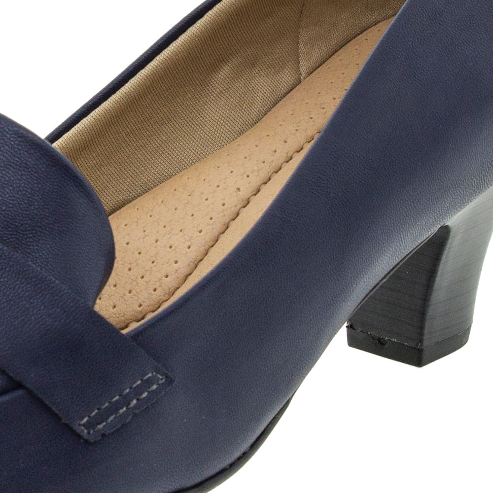 525343f267 Sapato Feminino Salto Baixo Marinho Piccadilly - 703015 - cloviscalcados