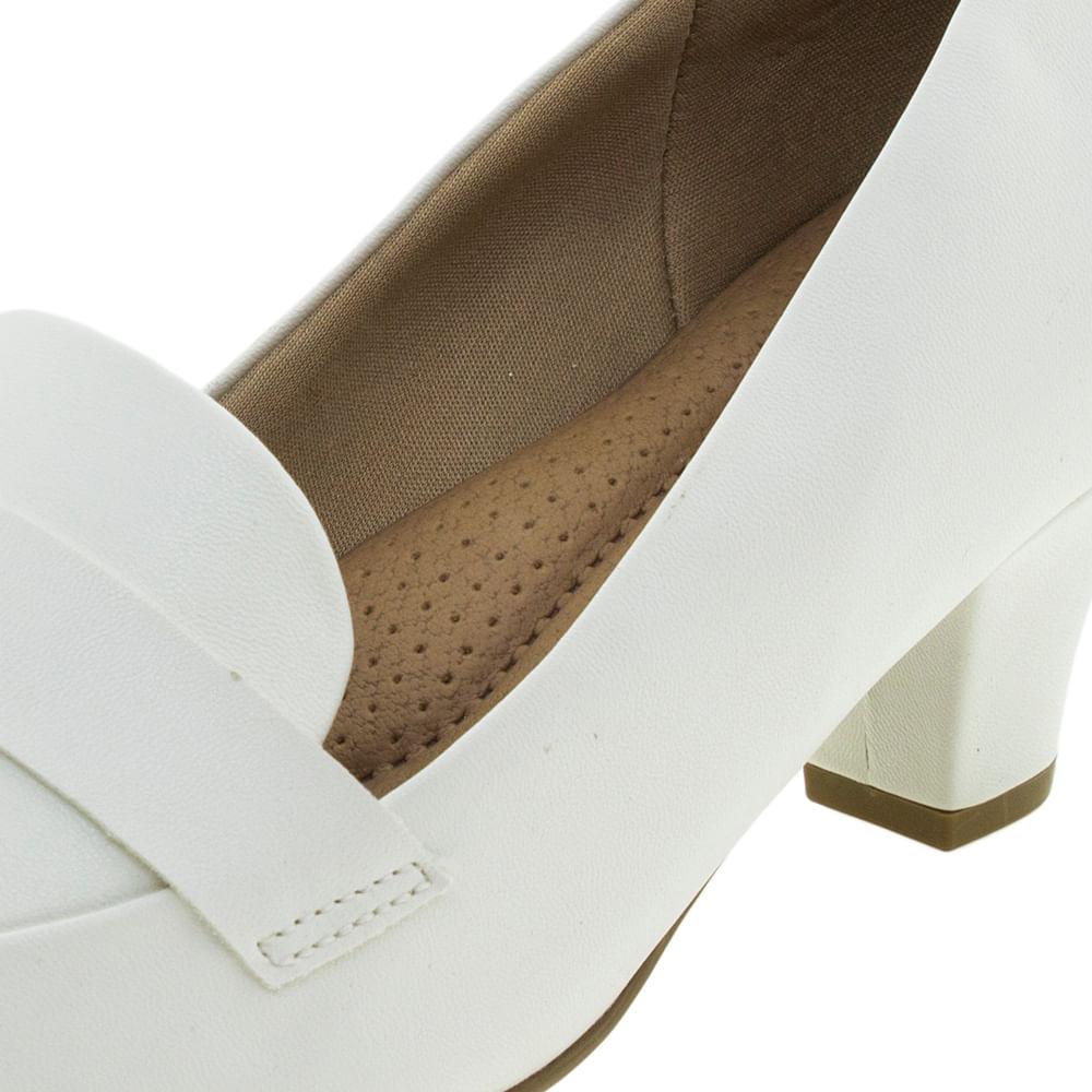 a103c8942 Sapato Feminino Salto Baixo Branco Piccadilly - 703015 - cloviscalcados