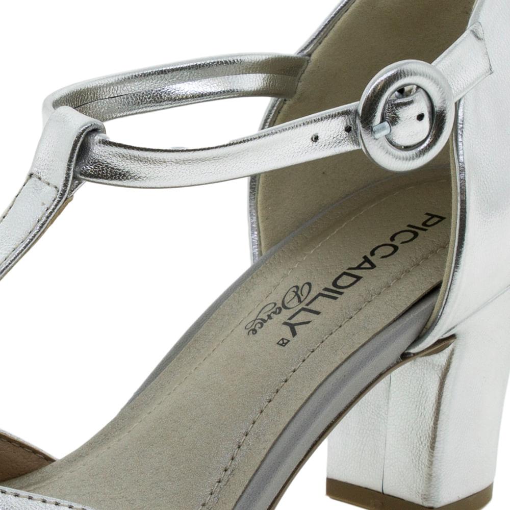 ac8763232 Sapato Feminino Salto Médio Prata Piccadilly - 696003 - cloviscalcados