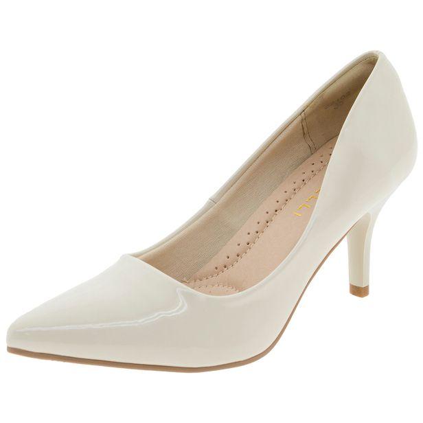 fe1dc21ba Sapato Feminino Scarpin Salto Médio Marfim Facinelli - 62102 -  cloviscalcados