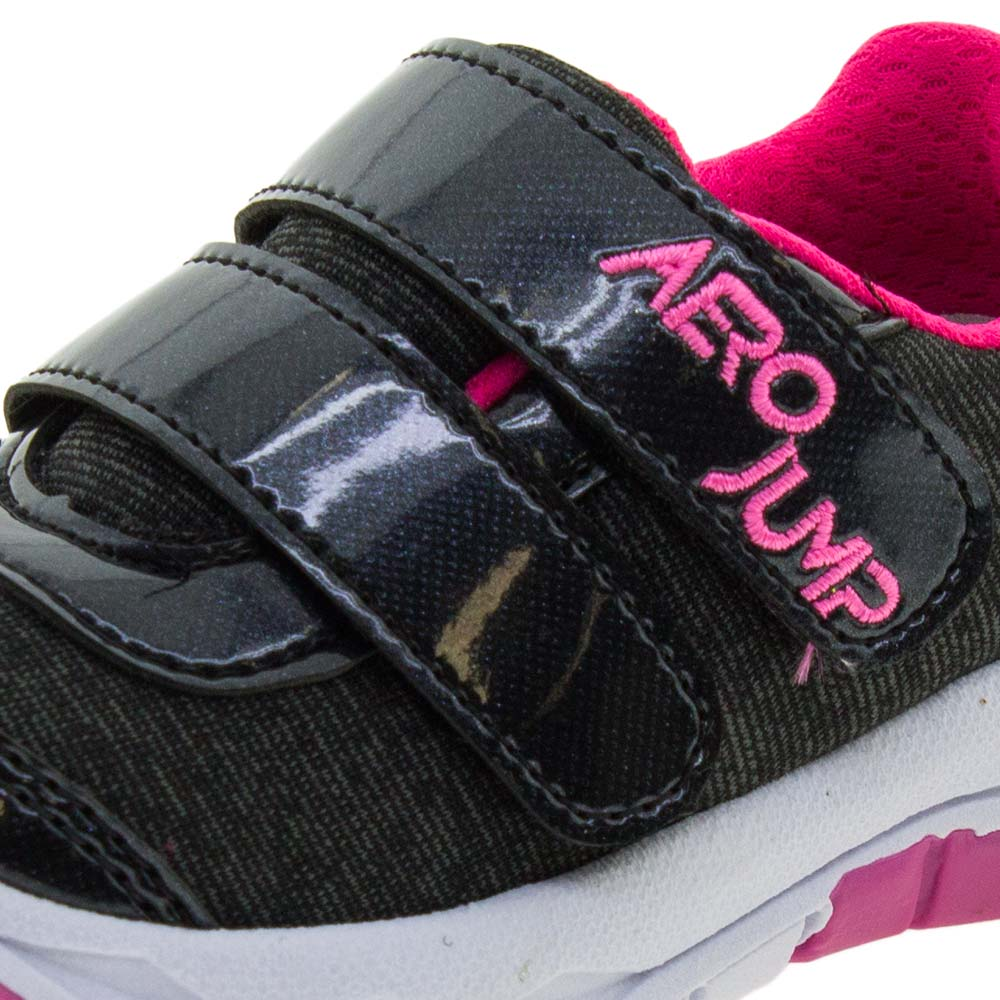 5e1e00e463000 Tênis Infantil Feminino Preto/Pink Aero Jump - 038019 - cloviscalcados
