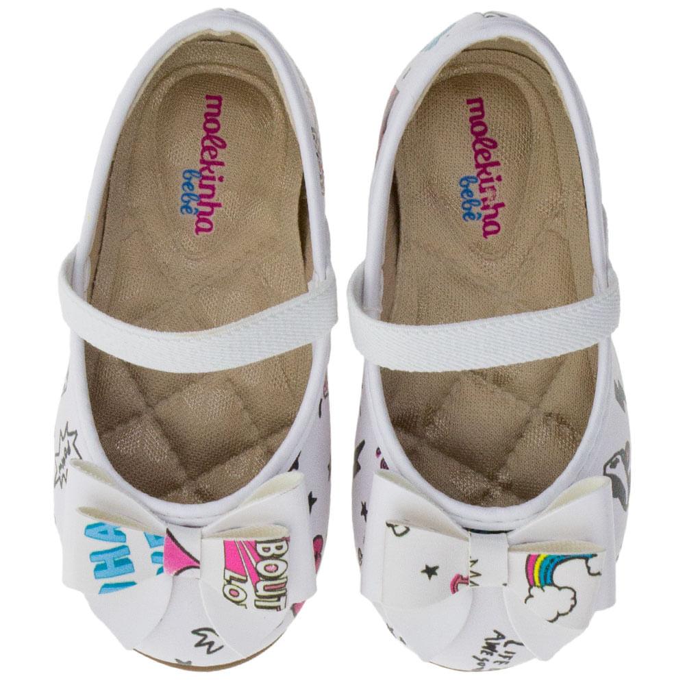 10d9102df5 Sapatilha Infantil Baby Branca Molekinha - 2106189 - cloviscalcados
