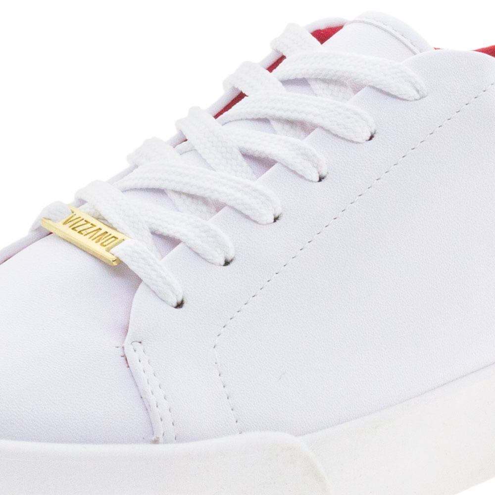 4c075579c65 Tênis Feminino Casual Vizzano - 1299100 Branco vermelho - cloviscalcados