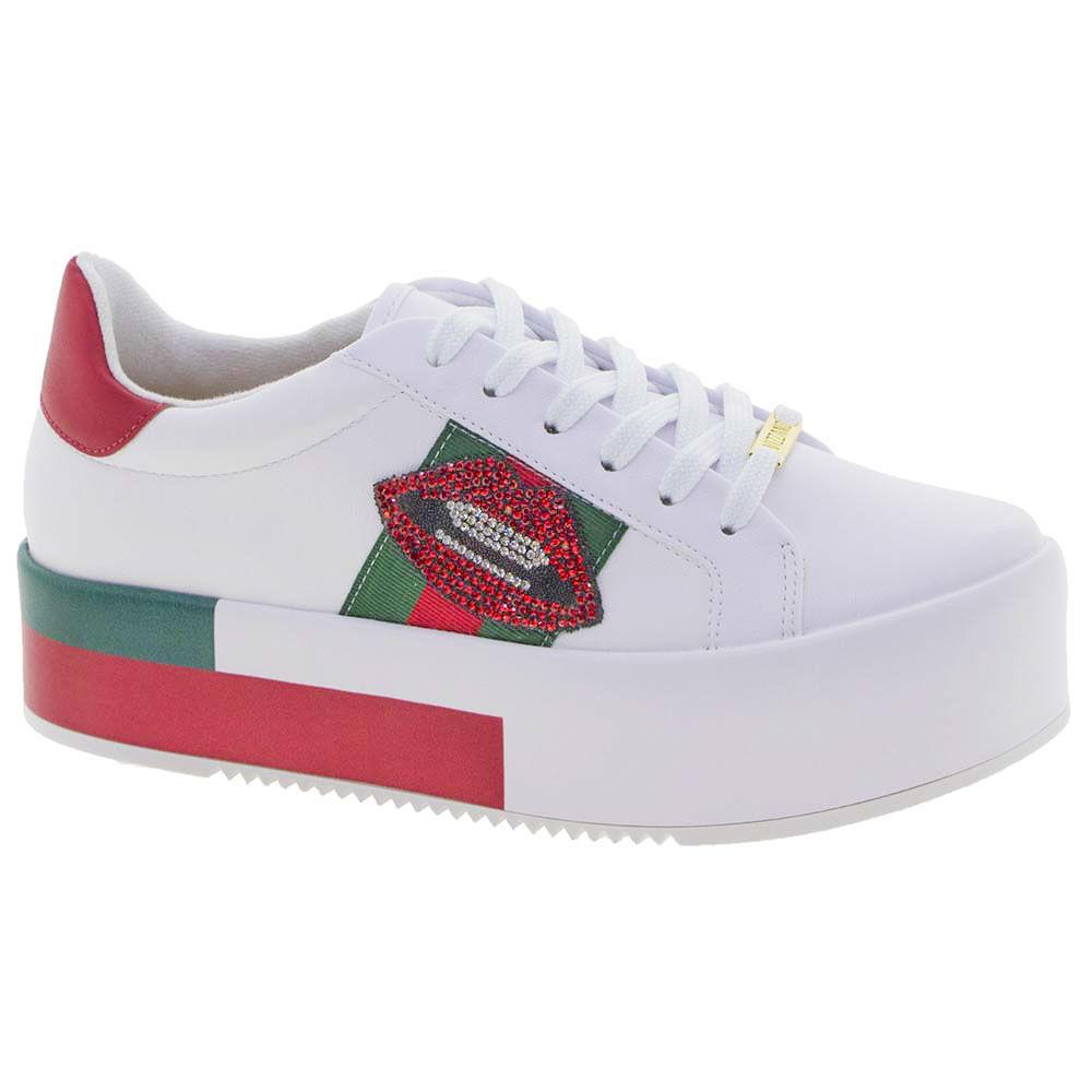 e55a03b38b2 Tênis Feminino Flatform Vizzano - 1298203 Branco vermelho - cloviscalcados