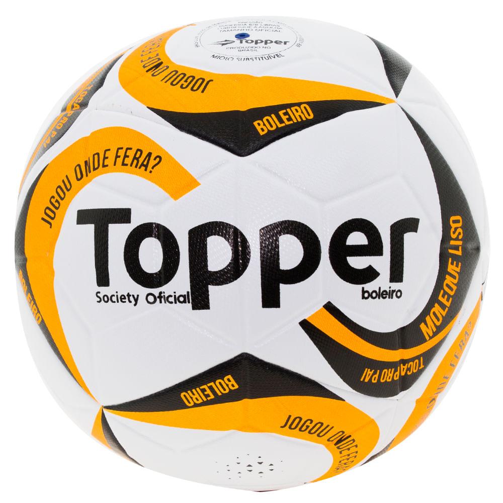 41a6240ecf448 Bola para Futebol Society Branca Laranja Topper - 1171 - cloviscalcados