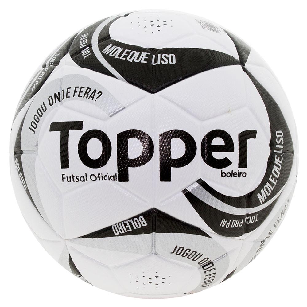 b0f8accbe5624 Bola para Futebol Futsal Branco Preto Topper - 1172 - cloviscalcados