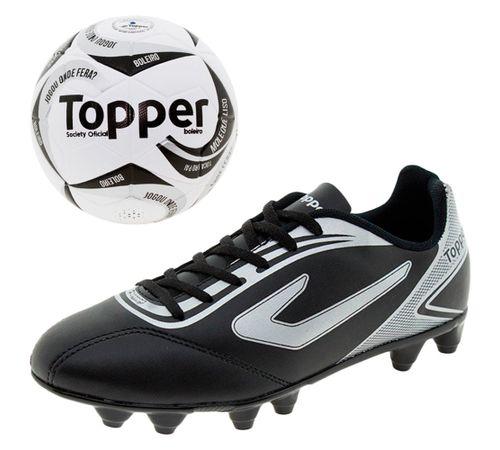 3bf40984cf Kit 1 Chuteira Masculina Campo Topper + Bola Futsal Toper - 4201343 ...